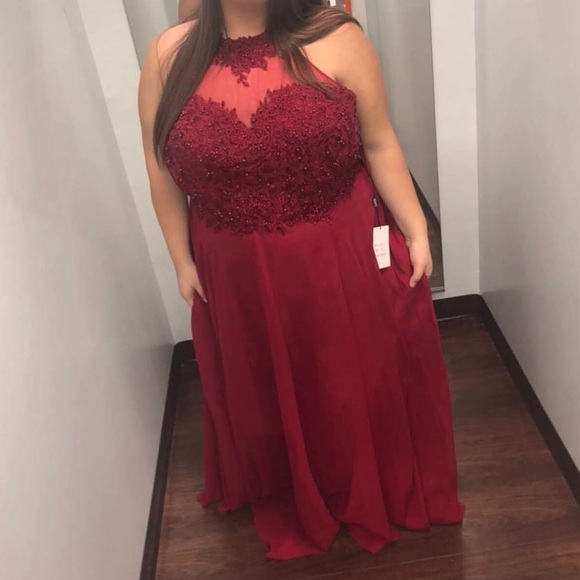A Clarisse plus size light maroon prom dress